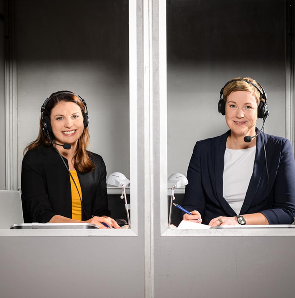 Konferenzdolmetscher Berlin: Sabrina Beilfuß und Vivi Bentin. Konferenzberatung und Konferenzdolmetschen.Kompetenz im Doppelpack.